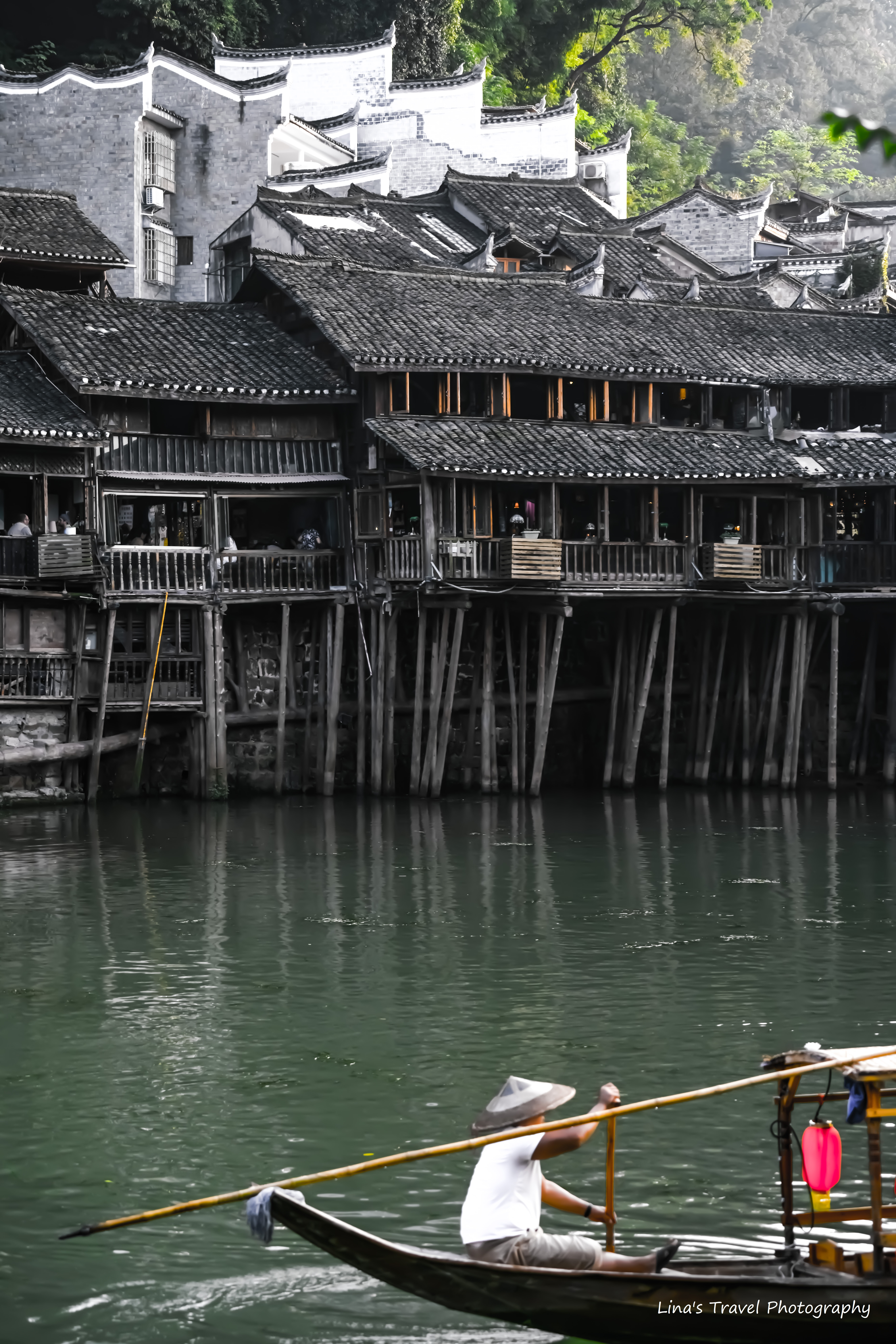 Traditional old stilt houses in Fenghuang Ancient Town, Hunan, China